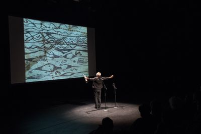 Performance by Jacques Coursil as part of That, Around Which The Universe Revolves: On Rhythmanalysis of Memory, Times, Bodies in Space, SAVVY Contemporary—The Laboratory of Form-Ideas, Berlin (1 December–3 December 2017). Courtesy. Courtesy SAVVY Contemporary—The Laboratory of Form-Ideas. Photo: © Raisa Galofre.