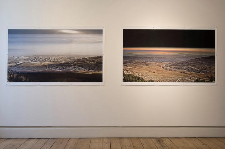 Susan Collins, LAND, Jerusalem 28th December 2016 at 14.00pm (2019) (left); LAND, Jerusalem 7th November 2016 at 16.13pm (2019) (right). Exhibition view: Beyond Boundaries, Somerset House, London (12 March–2 April 2019). Courtesy Somerset House. Photo: Malcolm Park.
