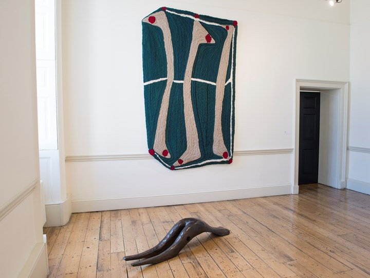 Enrico David, Untitled (Study for Racket I) (2017) (foreground); Untitled (2018) (background). Exhibition view: Beyond Boundaries, Somerset House, London (12 March-2 April 2019). Courtesy Somerset House. Photo: Malcolm Park.