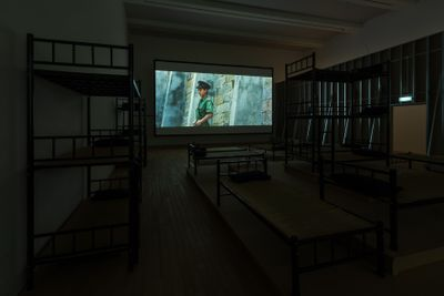 Cao Fei, Prison Architect (2018). Cinematography by Kwan Pun Leung. Exhibition view: Cao Fei, A Hollow in a World Too Full, Tai Kwun, Hong Kong (8 September 2018–4 January 2019). Courtesy Tai Kwun.