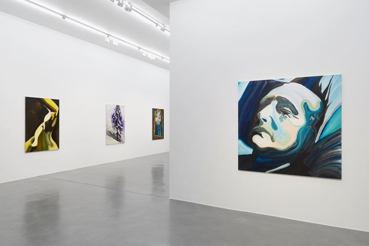 Exhibition view: Clare Woods, Doublethink, Simon Lee Gallery, London (6 September–5 October 2019). Courtesy Simon Lee Gallery.