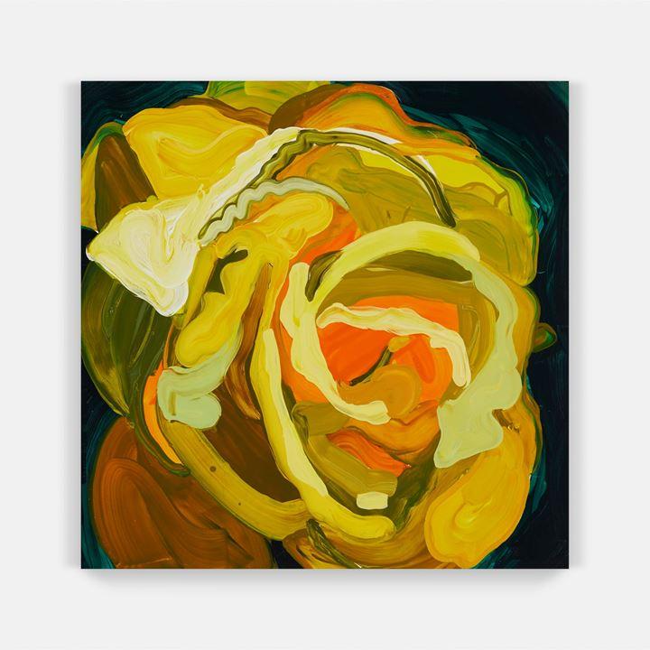 Clare Woods, Peace (small) (2019). Oil on aluminium. 50 x 50 x 3 cm. Courtesy Simon Lee Gallery.