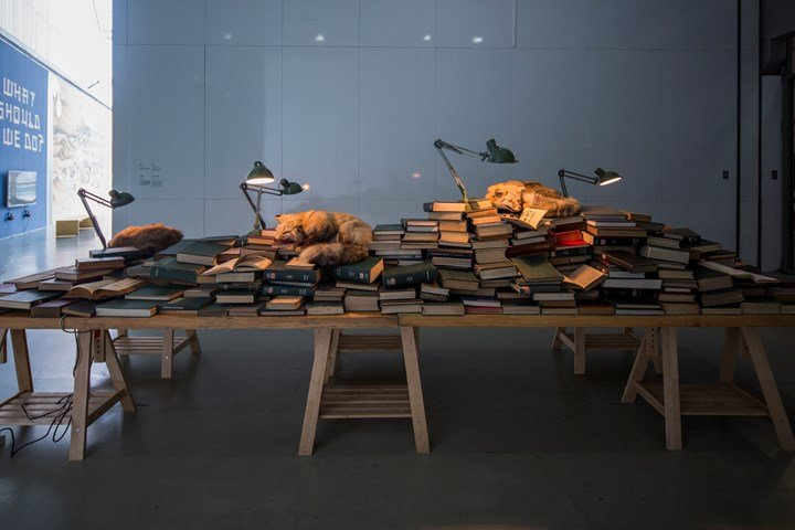 Zhu Xi, Dream Scriptures (2016). Books, specimen, lamp, wood and fan. 500 x 150 x 170 cm. Exhibition view: Titled Proregress—Art in an Age of Historical Ambivalence, 12th Shanghai Biennale, Power Station of Art (10 November 2018–10 March 2019). Courtesy Shanghai Biennale.