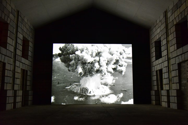 Bruce Conner, Crossroads (1975). Exhibition view: Out of Body, Las Casas Church, Las Casas Filipinas de Acuzar, Bagac, Bataan (24 February–3 June 2018). 37 min. 35mm film, black-and-white, sound. Courtesy Kohn Gallery, Los Angeles; Conner Family Trust, San Francisco and Bellas Artes Projects. Photo: MM Yu.