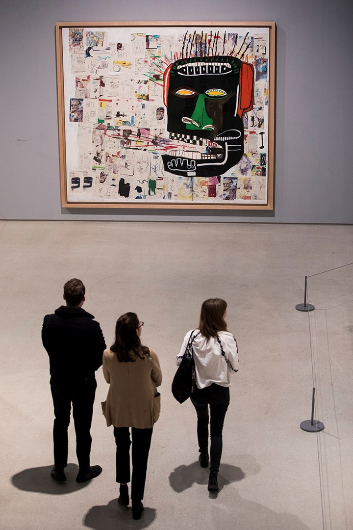 Jean-Michel Basquiat, Glenn (1984). Exhibition view: Basquiat: Boom for Real, Barbican Art Gallery, London (21 September 2017–28 January 2018). Courtesy Barbican Art Gallery. Private Collection. © The Estate of Jean-Michel Basquiat. Licensed by Artestar, New York. Photo: © Tristan Fewings / Getty Images.