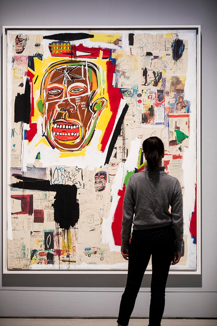 Jean-Michel Basquiat, King of the Zulus (1984–85). Exhibition view: Basquiat: Boom for Real, Barbican Art Gallery, London (21 September 2017–28 January 2018). Courtesy Barbican Art Gallery. The Estate of Jean-Michel Basquiat. Licensed by Artestar, New York. Photo: © Tristan Fewings / Getty Images.
