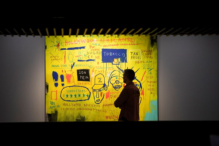 Jean-Michel Basquiat, Hollywood Africans (1983). Exhibition view: Basquiat: Boom for Real, Barbican Art Gallery, London (21 September 2017–28 January 2018). Courtesy Whitney Museum of American Art, New York. © The Estate of Jean-Michel Basquiat/Artists Rights Society (ARS), New York/ADAGP, Paris. Licensed by Artestar, New York. Photo: © Tristan Fewings / Getty Images.