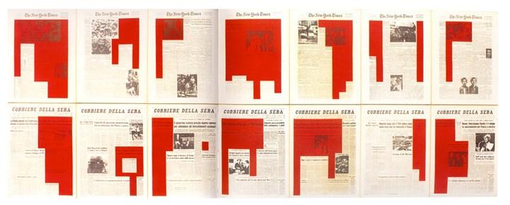 Antonio Dias, The Illustration of Art/Tazibao/The Shape of Power (1972). Silk screen, acrylic on canvas. 121 x 315 cm. Courtesy Galeria Nara Roesler.