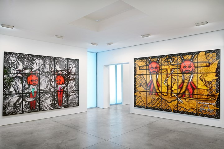Exhibition view: The Beard Pictures, Lehmann Maupin, New York (12 October–22 December 2017). Courtesy the artists and Lehmann Maupin, New York/Hong Kong. Photo: Matthew Herrmann © Gilbert & George.