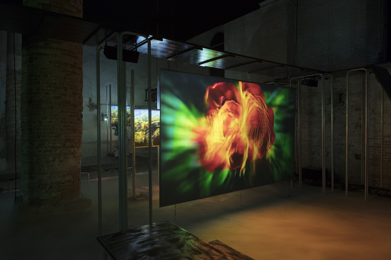 Hito Steyerl, This is the Future (2019). Video installation, environment. Single channel HD video, colour, sound. 16 min. Environment: raised walkways, projection screens, Smart Glass panel. Dimensions variable. Exhibition view: May You Live In Interesting Times, 58th Venice Biennale, Arsenale (11 May–24 November 2019). Courtesy the artist, Andrew Kreps Gallery, New York; Esther Schipper, Berlin. Photo: © Andrea Roessetti.