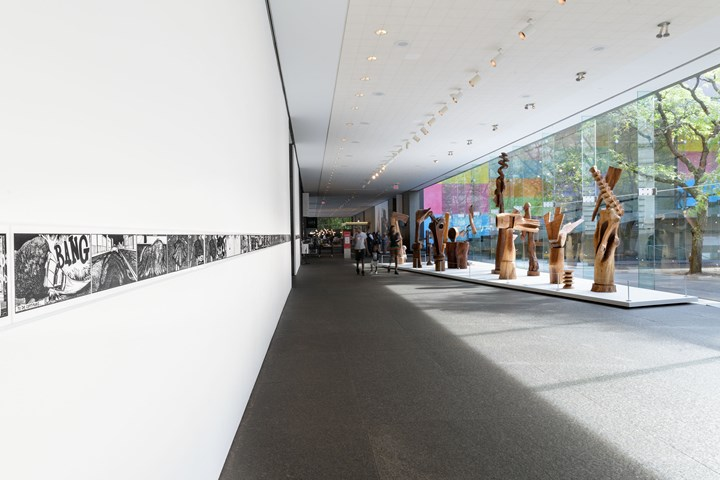 Kerry James Marshall, Untitled: Rythm Mastr Daily Strip (2018) (left); Thaddeus Mosley, (TITLE) (Date) (right). Exhibition view: 57th Carnegie International, Pittsburgh (13 October 2018–25 March 2019). © Carnegie Museum of Art. Photo: Bryan Conley.
