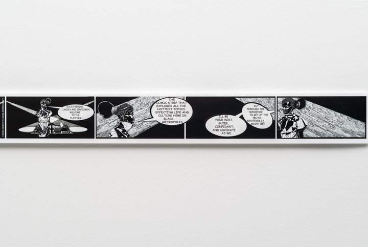 Kerry James Marshall, Untitled: Rythm Mastr Daily Strip (2018). Exhibition view: 57th Carnegie International, Pittsburgh (13 October 2018–25 March 2019). © Carnegie Museum of Art. Courtesy the artist; Jack Shainman Gallery, New York; David Zwirner, London/New York/Hong Kong, and Koplin del Rio, Seattle. Photo: Bryan Conley.
