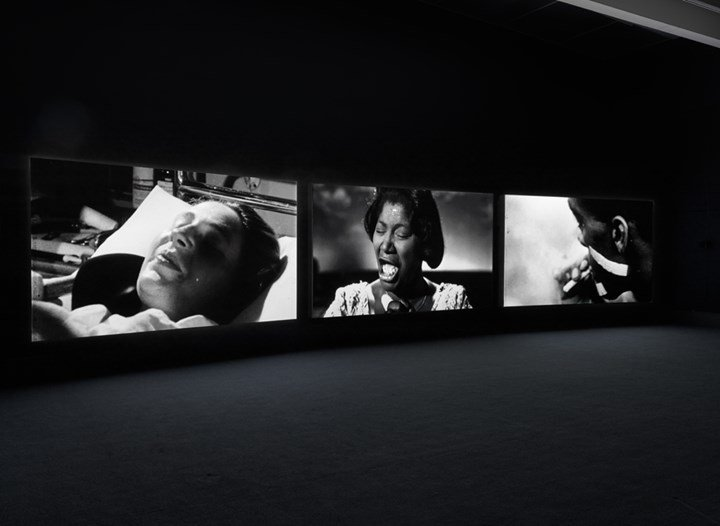 John Akomfrah, The Unfinished Conversation (2012). Exhibition view: John Akomfrah: Signs of Empire, New Museum, New York (20 June–2 September 2018). Courtesy Smoking Dogs Films and Lisson Gallery. Photo: Maris Hutchinson / EPW Studio.