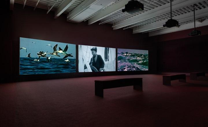 John Akomfrah, Vertigo Sea (2015). Exhibition view: John Akomfrah: Signs of Empire, New Museum, New York (20 June–2 September 2018). Courtesy Smoking Dogs Films and Lisson Gallery. Photo: Maris Hutchinson / EPW Studio.