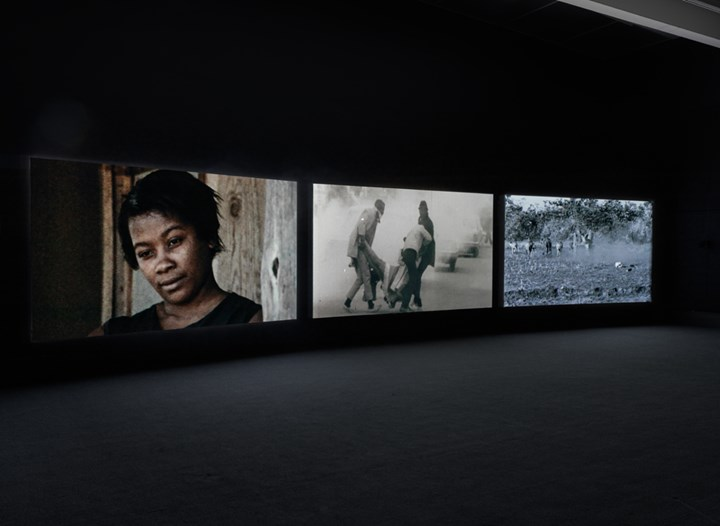 Akomfrah, The Unfinished Conversation (2012). Exhibition view: John Akomfrah: Signs of Empire, New Museum, New York (20 June–2 September 2018). Courtesy Smoking Dogs Films and Lisson Gallery. Photo: Maris Hutchinson / EPW Studio.