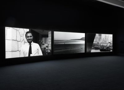 John Akomfrah, The Unfinished Conversation (2012). Exhibition view: John Akomfrah: Signs of Empire, New Museum, New York (20 June–2 September 2018).