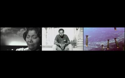 John Akomfrah, The Unfinished Conversation (2012). Three-channel HD video installation, 7.1 sound, colour. 45 min 48 sec. © Smoking Dogs Films. Courtesy Lisson Gallery.