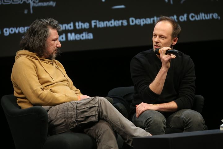 Cristos Giovanopoulos and Robin Vanbesien during Q&A of Under These Words (Solidarity Athens 2016) (2017), transmediale 2019, Berlin (31 January–3 February 2019). Courtesy transmediale. Photo: Adam Berry.