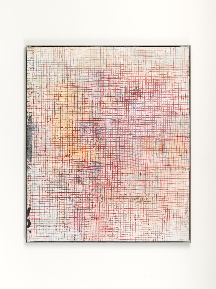 Mandy El-Sayegh, TBC - small grids (2019). Oil and mixed media on linen, artist steel frame. 143 x 119 cm. Courtesy the artist and Lehmann Maupin.
