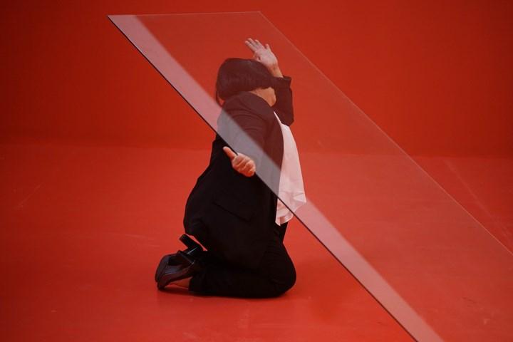Melati Suryodarmo, I Love You 2 (2018). Colour inkjet print, edition of 5. 120 x 180 cm; 146 x 207 x 8 cm (incl frame). Performance photograph. © Melati Suryodarmo and ShanghART. Courtesy ShanghART.