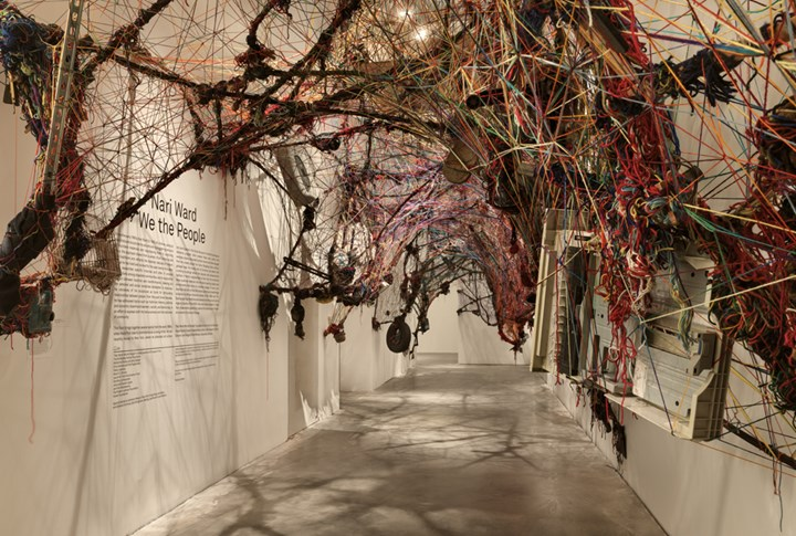 Nari Ward, Hunger Cradle (1996). Yarn, rope, found materials. Dimensions variable. Exhibition view: We the People, New Museum, New York (13 February–26 May 2019). Courtesy New Museum. Photo: Maris Hutchinson/EPW Studio.