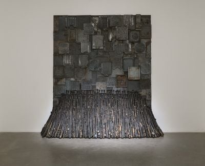 Nari Ward, Iron Heavens (1995). Oven pans, ironed sterilised cotton, and burned wooden bats. 355.6 x 375.9 x 121.9 cm. Exhibition view: We the People, New Museum, New York (13 February–26 May 2019). Courtesy New Museum. Photo: Maris Hutchinson/EPW Studio.