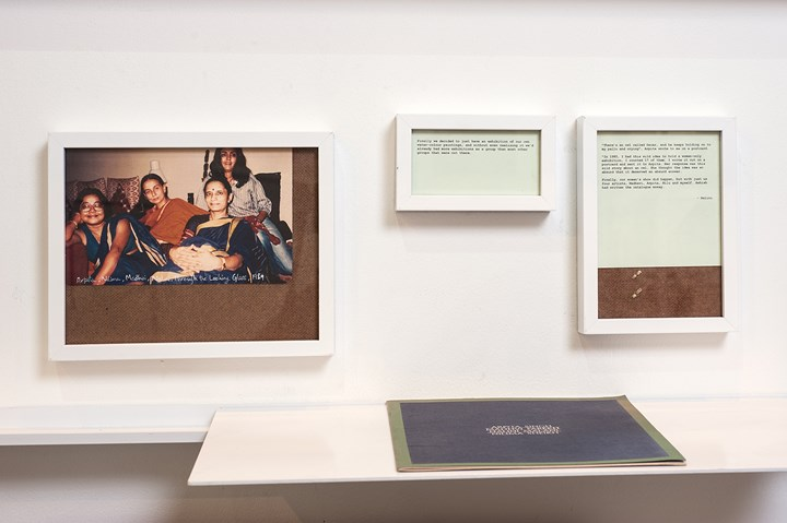 Photograph of Arpita Singh, Nilima Sheikh, Madhvi Parekh and Nalini Malani alongside quotes from the artists. Exhibition view: Shilpa Gupta: That photo we never got, Asia Art Archive Library, Hong Kong (21 March–21 May 2016). Courtesy Asia Art Archive.