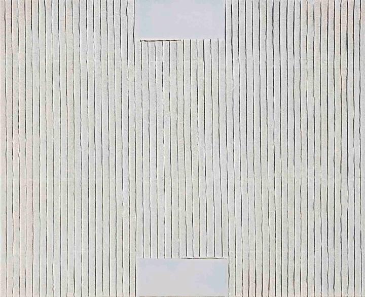 Park Seo-Bo, Ecriture No. 010108 (2001). Mixed media and Korean hanji paper on canvas. 73 x 91 cm. Courtesy the artist and Kukje Gallery.