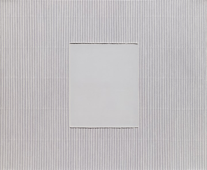 Park Seo-Bo, Ecriture No. 021009 (2002). Mixed media with Korean hanji paper on canvas.  162 x 195 cm. Courtesy Tina Kim Gallery.
