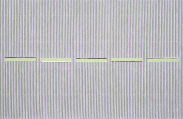 Park Seo-Bo, Ecriture No. 111024 (2011). Mixed media with Korean hanji paper on canvas. 130 x 200 cm. Courtesy the artist and Kukje Gallery.