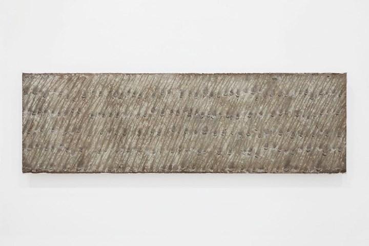 Park Seo-Bo, Ecriture No. 155-82 (1982). Mixed media with Korean hanji paper on canvas. 53.3 x 169.7 cm. Courtesy Tina Kim Gallery