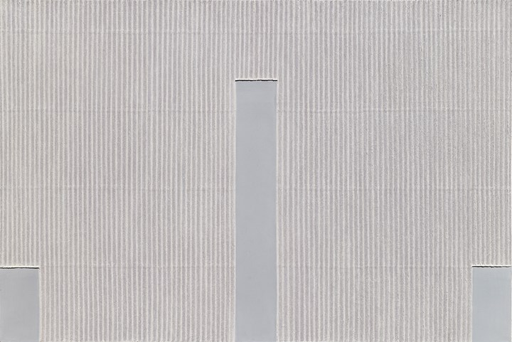Park Seo-Bo, Ecriture No. 45-75 (1975). Pencil and oil on canvas. 129.86 x 161.61 cm. Courtesy the artist and Blum & Poe.