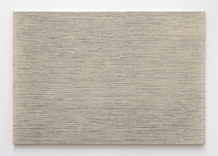 Park Seo-Bo, Ecriture No. 54.77 (1977). Pencil and oil on canvas. 80.33 x 116.52 cm. Courtesy the artist and Blum & Poe.