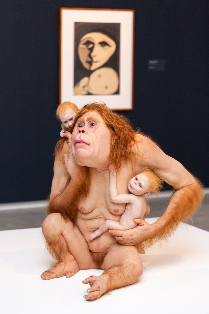 Patricia Piccinini, Kindred (2018). Exhibition view: Patricia Piccinini & Joy Hester: Through love ..., TarraWarra Museum of Art (24 November 2018–11 March 2019). The Michael and Janet Buxton Collection, Melbourne. Courtesy the artist, Tolarno Galleries, Melbourne and Roslyn Oxley 9 Gallery, Sydney. Photo: Rick Liston.