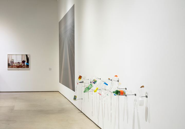 Patty Chang, Configurations (bottles) (2017); Configurations (Aqueduct) (2017); Glass urinary devices (2017) (left to right). Exhibition view: Patty Chang: The Wandering Lake, 2009–2017, Institute of Contemporary Art, Los Angeles (17 March–4 August 2019). Courtesy Institute of Contemporary Art, Los Angeles.