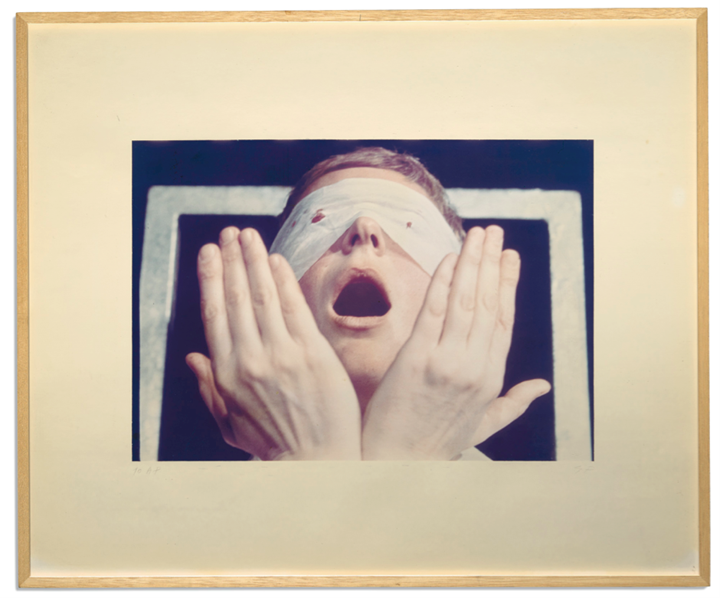 Gina Pane, Action Psyché (1973) (detail). A set of 25 colour photographs, preparatory drawings, and coloured slides. © The Estate of the Artist. Courtesy Richard Saltoun Gallery.