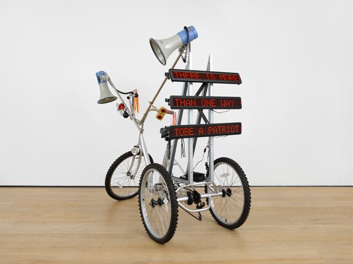 Marinella Senatore, Protest Bike (2018). Bike, speakers, billboards. Courtesy Richard Saltoun Gallery.