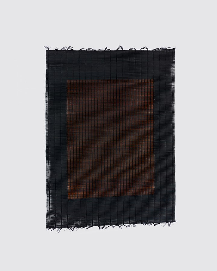Suki Seokyeong Kang, Mat Black Mat 61×81 #18-03 (2018). Thread, woven dyed Hwamunseok. 63 × 84.5 cm. Photo: Kyoungtae Kim. Courtesy the artist, One and J. Gallery and Tina Kim Gallery.