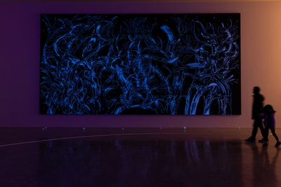 Sun Xun, Who First Saw the Stars (2018). Woodcut painting. Exhibition view: Sun Xun, Museum of Contemporary Art Australia, Sydney (9 July–14 October 2018). Commissioned by the Museum of Contemporary Art Australia and Edouard Malingue Gallery. Courtesy the artist and Museum of Contemporary Art Australia. © Sun Xun. Photo: Jacquie Manning.