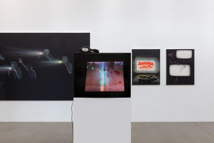 Exhibition view: Tala Madani, Oven Light, Portikus, Frankfurt (9 February–14 April 2019). © the artist, 303 Gallery, and Pilar Corrias. Courtesy Portikus. Photo: Diana Pfammatter.
