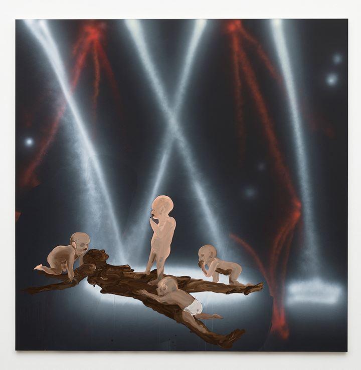 Tala Madani, Shit Mother I (2019). Oil on linen. 203.2 x 203.2 x 2.5 cm. Courtesy David Kordansky Gallery. Photo: Jeff Mclane.