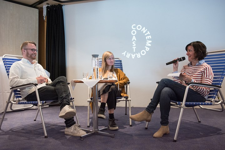 Artist talk between Jan Freuchen, Toril Johannessen and writer Orit Gat for Coast Contemporary (21–24 October 2017). Courtesy Coast Contemporary. Photo: Laimonas Puisys.