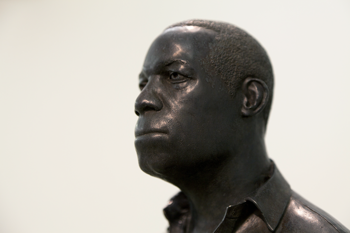 Thomas J Price, Man on a Horse (Kings Avenue) (2011) (detail). Bronze, Perspex, wooden base. 168 x 36 x36 cm 168 x 36 x36 cm. Courtesy the artist.