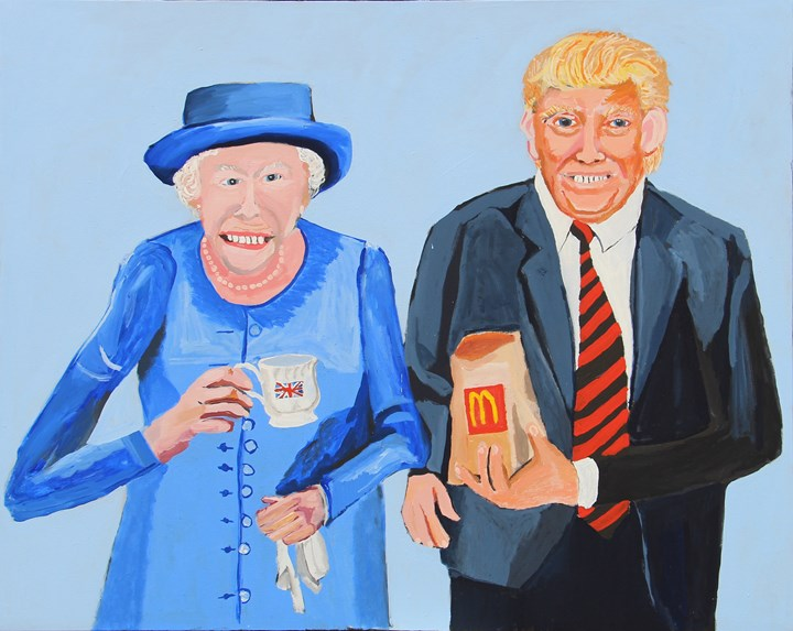 Vincent Namatjira, Queen Elizabeth & Donald (2018). Acrylic on linen. 122 x 155 cm. Courtesy the artist and THIS IS NO FANTASY dianne tanzer + nicola stein.