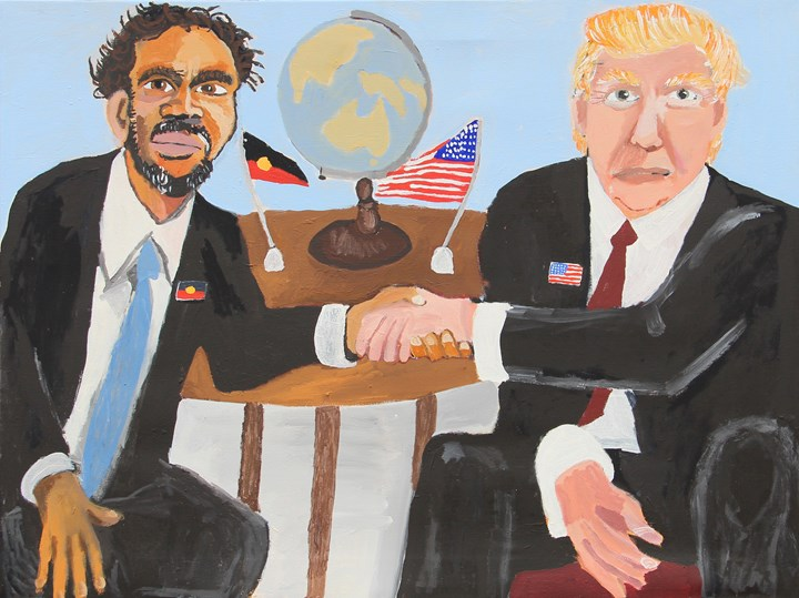 Vincent Namatjira, Vincent & Donald (The Handshake) (2018). Acrylic on linen. 910 x 122 cm. Courtesy the artist and THIS IS NO FANTASY dianne tanzer + nicola stein.