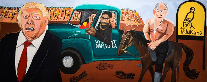 Vincent Namatjira, Welcome to Indulkana (2018). Acrylic on canvas. 122 x 304 cm. Courtesy the artist and THIS IS NO FANTASY dianne tanzer + nicola stein.