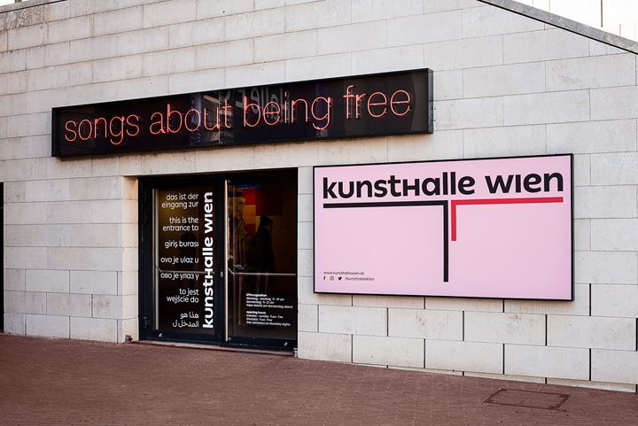 Tim Etchells, Being Free (2020). Exhibition view: ... of bread, wine, cars, security and peace, Kunsthalle Wien, Vienna (8 March–8 May 2020). Courtesy the artist, Vitrine, London/Basel; Jenkins Johnson Gallery, San Francisco/New York & Ebensperger-Rhomberg, Berlin/Salzburg. Photo: Jorit Aust.