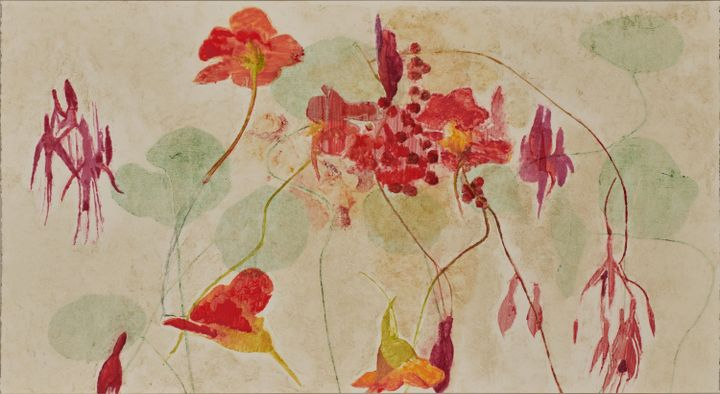 Red and pink flowers, some with tints of yellow, are painted against a beige background.