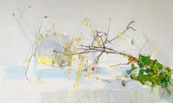 A mass of twigs and branches, some with sparingly painted leaves, is rendered on the canvas.