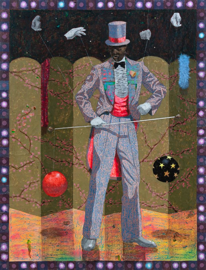 A man in a blue and pink-tinted suit and top hat is pictured dancing, with four puppeteer hands directing his movement.